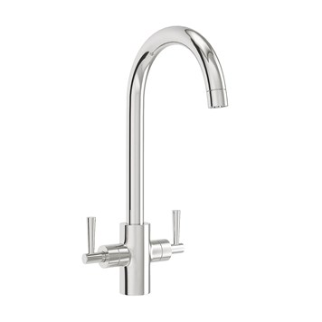 Vellamo Sidra Twin Lever Mono Kitchen Mixer - Polished Chrome