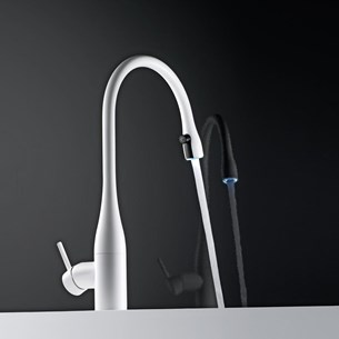 KWC Eve Mono Sink Mixer with LED Pull Out Aerator - Glacier White