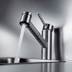 KWC Inox Single Lever Mono Sink Mixer With Pull Out Spray