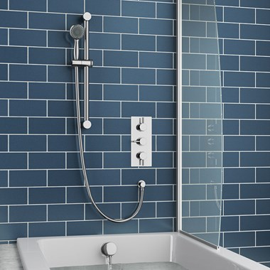 Lapin Concealed Shower Valve with Slide Rail Kit & Overflow Bath Filler