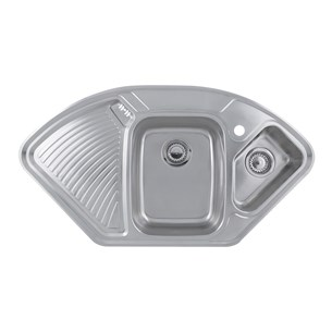 Astracast Lausanne 1.5 Bowl Corner Sink Pack with Chrome Wastes, Overflow & Pipework
