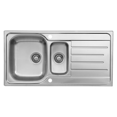Reginox Le Mans 1.5 Bowl Polished Stainless Steel Sink & Waste Kit with Reversible Drainer - 980 x 500mm