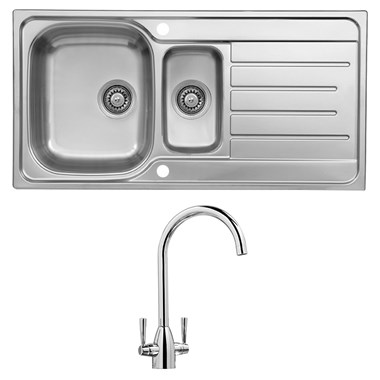 Reginox Le Mans 1.5 Bowl Stainless Steel Sink with Waste Kit & Vellamo Hero Chrome Mono Kitchen Mixer