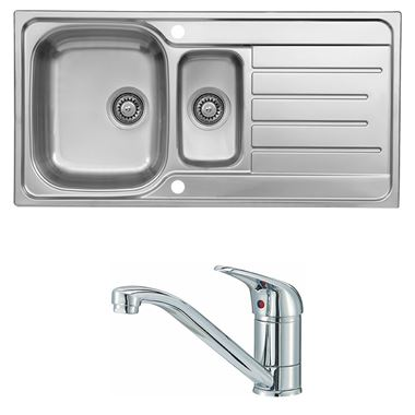 Reginox Le Mans 1.5 Bowl Stainless Steel Sink with Waste Kit & Miami Polished Chrome Mono Kitchen Mixer