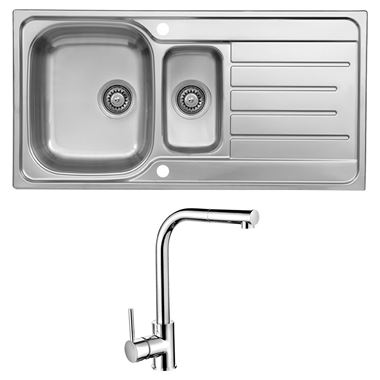 Reginox Le Mans 1.5 Bowl Stainless Steel Sink with Waste Kit & Vellamo Savu Pull Out Mono Kitchen Mixer