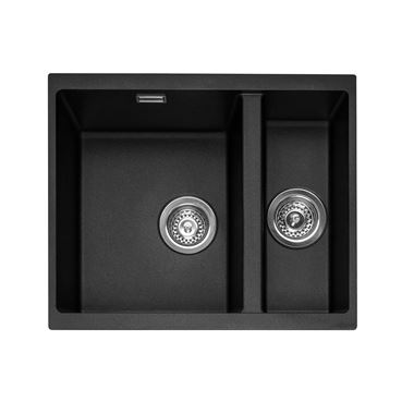 Caple Leesti 1.5 Bowl Anthracite Undermount Granite Composite Kitchen Sink & Waste Kit - 555 x 460mm