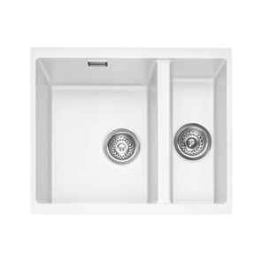 Caple Leesti 1.5 Bowl Chalk White Undermount Granite Composite Kitchen Sink & Waste Kit - 555 x 460mm