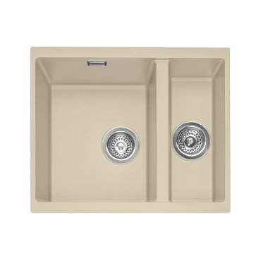 Caple Leesti 1.5 Bowl Desert Sand Undermount Granite Composite Kitchen Sink & Waste Kit - 555 x 460mm