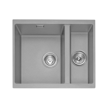 Caple Leesti 1.5 Bowl Pebble Grey Undermount Granite Composite Kitchen Sink & Waste Kit - 555 x 460mm