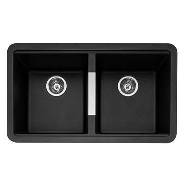 Caple Leesti 2 Bowl Anthracite Undermount Granite Composite Kitchen Sink & Waste Kit - 824 x 481mm