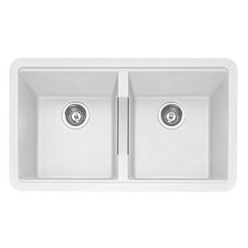 Caple Leesti 2 Bowl Chalk White Undermount Granite Composite Kitchen Sink & Waste Kit - 824 x 481mm