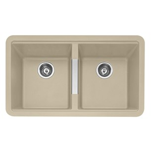 Caple Leesti 2 Bowl Desert Sand Undermount Granite Composite Kitchen Sink & Waste Kit - 824 x 481mm