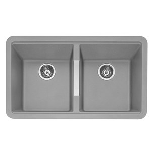 Caple Leesti 2 Bowl Pebble Grey Undermount Granite Composite Kitchen Sink & Waste Kit - 824 x 481mm