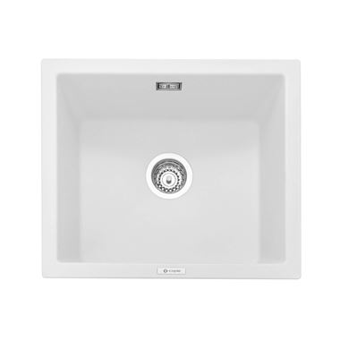 Caple Leesti 1 Bowl Chalk White Inset or Undermount Granite Composite Kitchen Sink & Waste Kit - 533 x 457mm