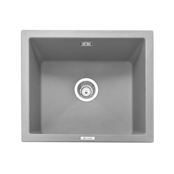 Caple Leesti 1 Bowl Pebble Grey Inset or Undermount Granite Composite Kitchen Sink & Waste Kit - 533 x 457mm