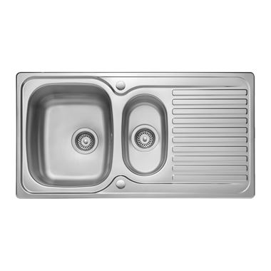 Leisure Linear 1.5 Bowl Stainless Steel Kitchen Sink & Waste Kit with Reversible Drainer - 950 x 508mm