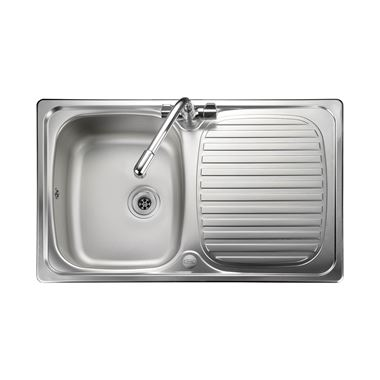 Leisure Linear Compact 1 Bowl Satin Stainless Steel Sink & Waste Kit with Reversible Drainer - 800 x 508mm