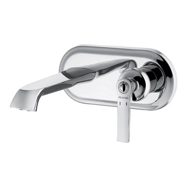 Flova Liberty Wall Mounted Basin Mixer with Clicker Waste - Chrome