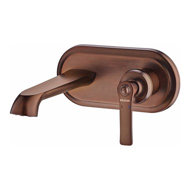 Flova Liberty Wall Mounted Basin Mixer with Clicker Waste - Oil Rubbed Bronze