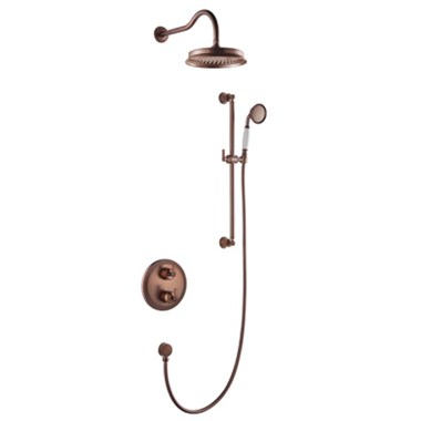 Flova Liberty Concealed Thermostatic Mixer Valve with Overhead Shower & Slide Rail Kit - Oil Rubbed Bronze
