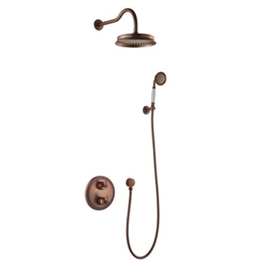 Flova Liberty Concealed Thermostatic Mixer Valve with Overhead Shower & Handset Kit - Oil Rubbed Bronze