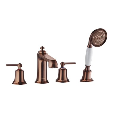 Flova Liberty 4 Hole Deck Mounted Bath Shower Mixer with Pull Out Handset - Oil Rubbed Bronze