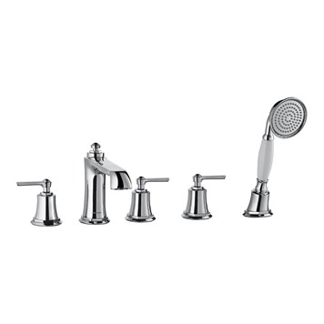 Flova Liberty 5 Hole Deck Mounted Bath Shower Mixer with Pull Out Handset - Chrome