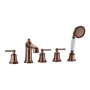 Flova Liberty 5 Hole Deck Mounted Bath Shower Mixer with Pull Out Handset - Oil Rubbed Bronze
