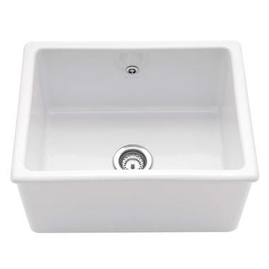 Caple Lingfield Single Bowl White Ceramic Inset Butler Sink - 595 x 470mm