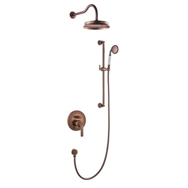 Flova Liberty Concealed Manual Mixer Valve with Overhead Shower & Slide Rail Kit - Oil Rubbed Bronze
