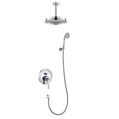 Flova Liberty Concealed Manual Mixer Valve with Ceiling Mounted Rainshower & Handset Kit - Chrome