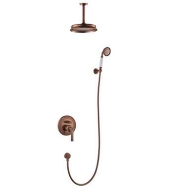 Flova Liberty Concealed Manual Mixer Valve with Ceiling Mounted Rainshower & Handset Kit - Oil Rubbed Bronze