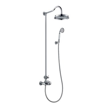 Flova Liberty Exposed Thermostatic Shower Column with Overhead Rainshower & Handset Kit - Chrome