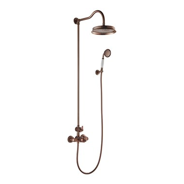 Flova Liberty Exposed Thermostatic Shower Column with Overhead Rainshower & Handset Kit - Oil Rubbed Bronze