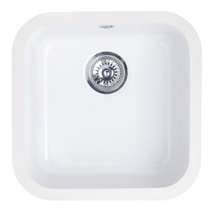 Astracast Lincoln Ceramic 4040 1 Bowl Undermount Sink With Chrome Waste - 400 x 400 x 180mm - White