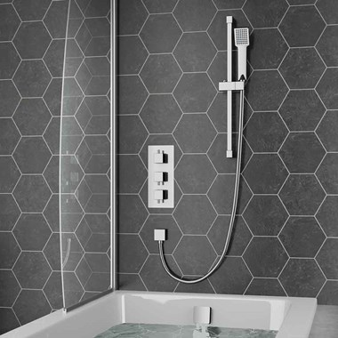 Lobo Square Concealed Shower Valve with Slide Rail Kit & Overflow Bath Filler