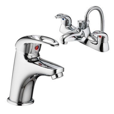 Vellamo Loop Basin Mixer and Bath Shower Mixer Pack
