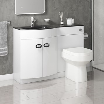 Drench Lorraine 1100mm Gloss White Combination Vanity & Toilet Unit with Black Glass Basin - Left or Right Hand