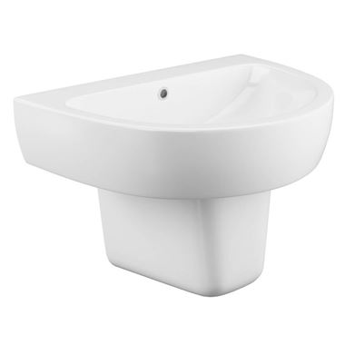 Harbour Clarity 560mm Basin & Semi Pedestal - One Tap Hole