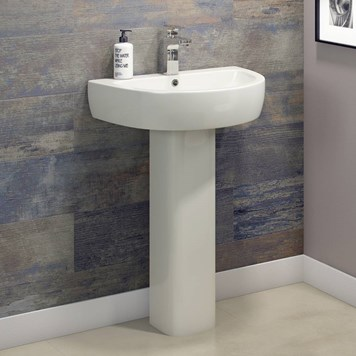 Harbour Clarity 560mm Basin & Full Pedestal - One Tap Hole