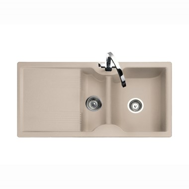 Rangemaster Lunar 1.5 Bowl Neo-Rock Oatmeal Granite Sink & Waste Kit with Reversible Drainer - 985 x 508mm