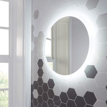 Harbour Glow Round LED Bathroom Mirror with Demister Pad - 600mm