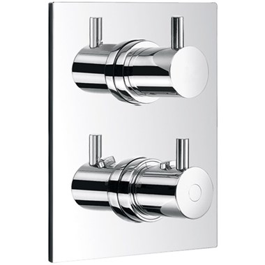 Flova Levo Square 1 Outlet Concealed Thermostatic Shower Mixer with Shut Off Valve