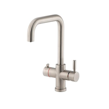 Clearwater Maestro 3 in 1 Instant Hot Water Kitchen Sink Mixer 'U Spout' Tap with Boiler Unit & Filter - Brushed Nickel