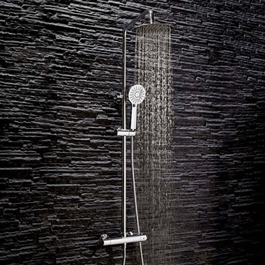 Vellamo Marvel WRAS-Approved Modern Thermostatic Shower Set with Thin Fixed Head