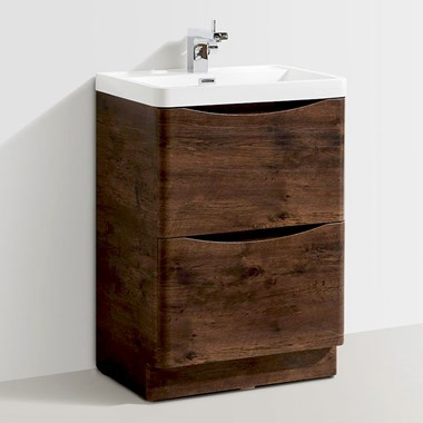 Maya 600mm Chestnut Floorstanding Vanity Unit & Basin