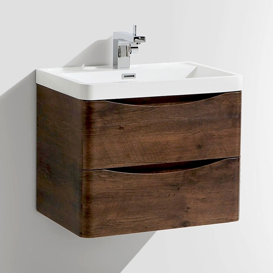 Harbour Clarity 600mm Wall Mounted Vanity Unit Basin Chestnut Tap Warehouse