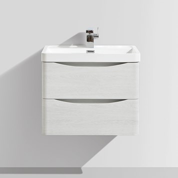 Vellamo Maya 600mm White Ash Wall Mounted Vanity Unit & Basin