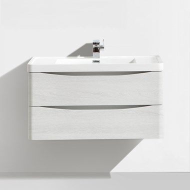 Vellamo Maya 900mm White Ash Wall Mounted Vanity Unit & Basin
