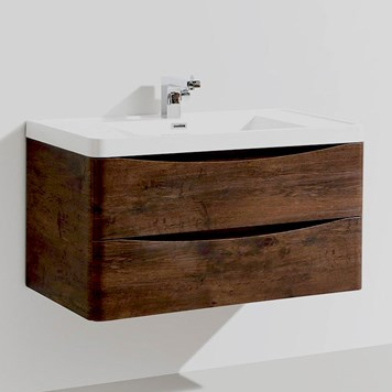 Maya 900mm Chestnut Wall Mounted Vanity Unit & Basin